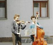 fiddle and bass players